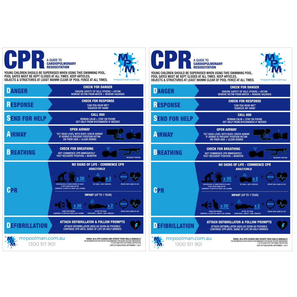 Pool Cpr Resuscitation Sign X 2 Drsabc Spa Regulation Safety Chart Ebay