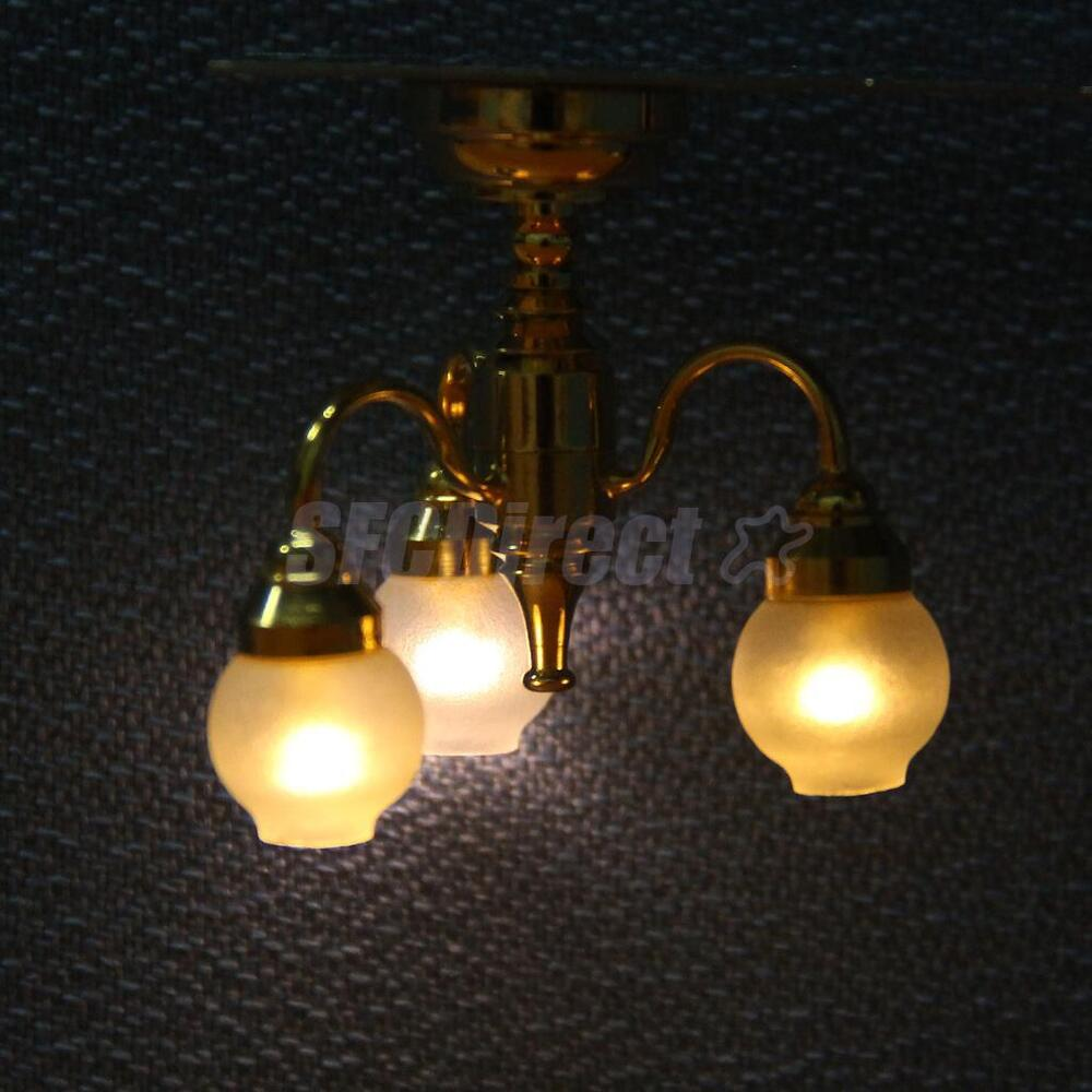 Dollhouse Miniature 3 Arm Chandelier Ceiling Lamp LED