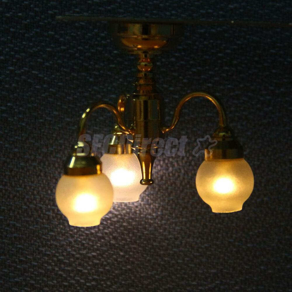 Dollhouse Miniatures Battery Lights: Dollhouse Miniature 3 Arm Chandelier Ceiling Lamp LED