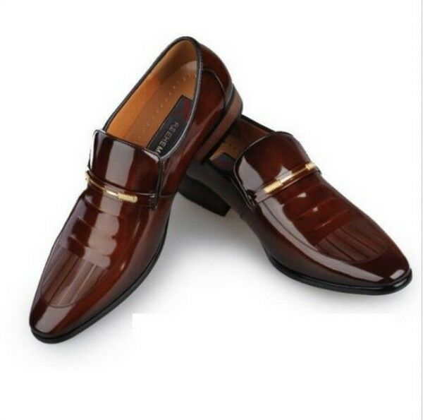 mens classic patent leather business pointed toe slip on