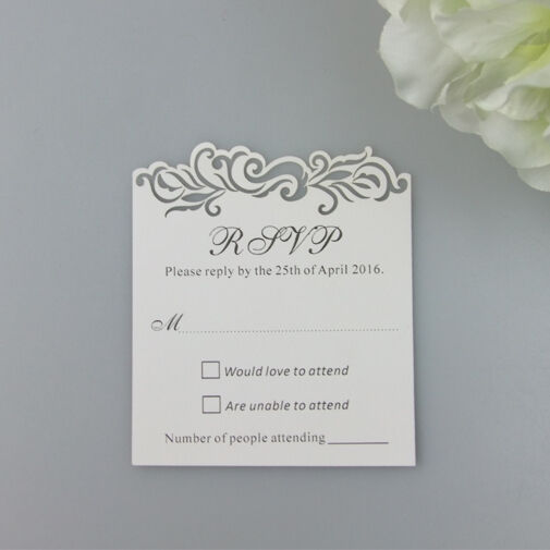 50pcs Personalized Damask Wedding Invitation RSVP Cards