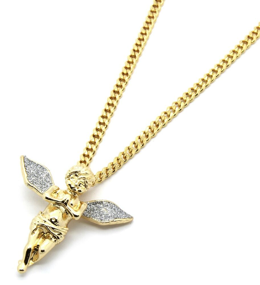 mens 14k gold plated stardust wings pendant hip