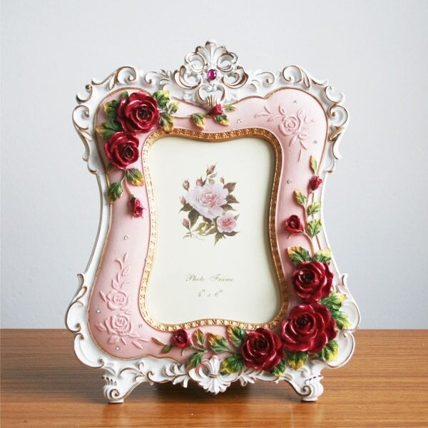 Retro style red pink rose flower home decor photo frame for Rose home decorations