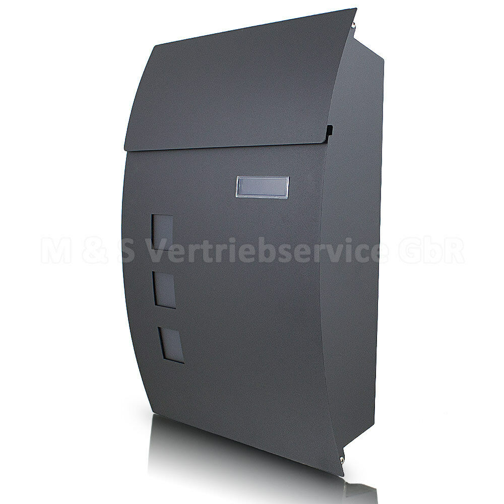 wandbriefkasten post briefkasten grau postbriefkasten. Black Bedroom Furniture Sets. Home Design Ideas