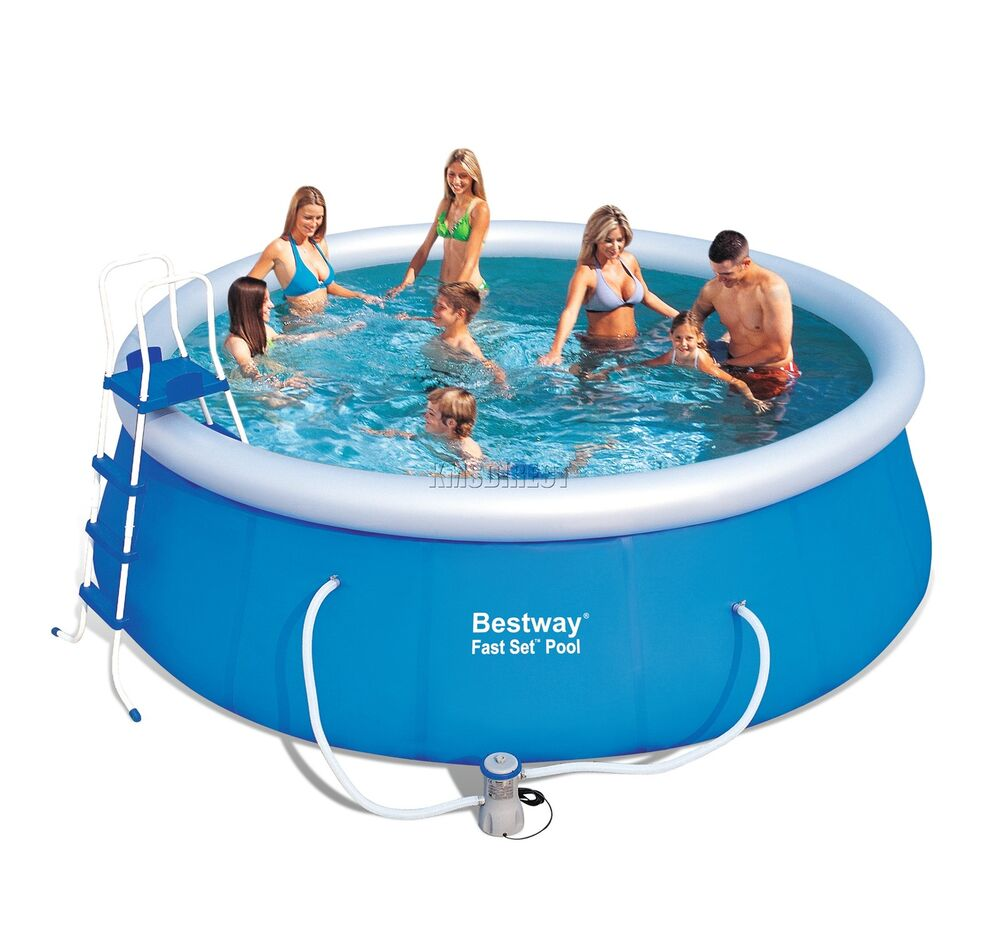 Bestway fast set swimming pool round inflatable above for Inflatable above ground pools