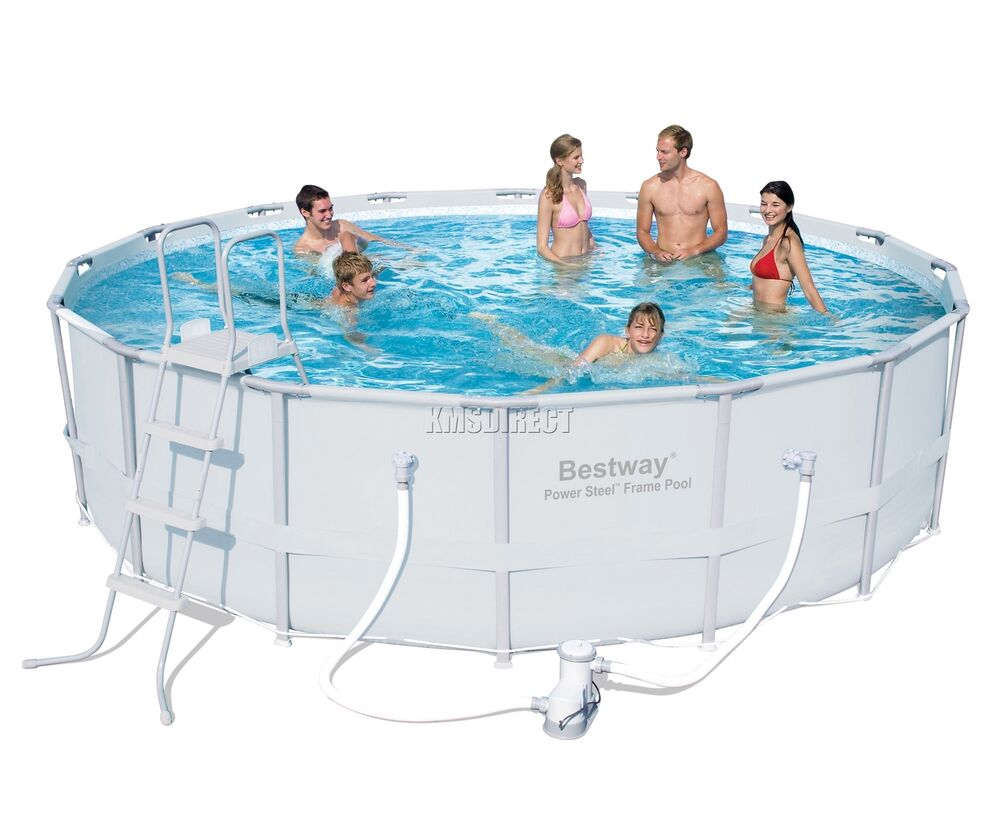 Bestway Power Steel Frame Swimming Pool Set Round Above Ground 16ft X 48inch New 6942138910582