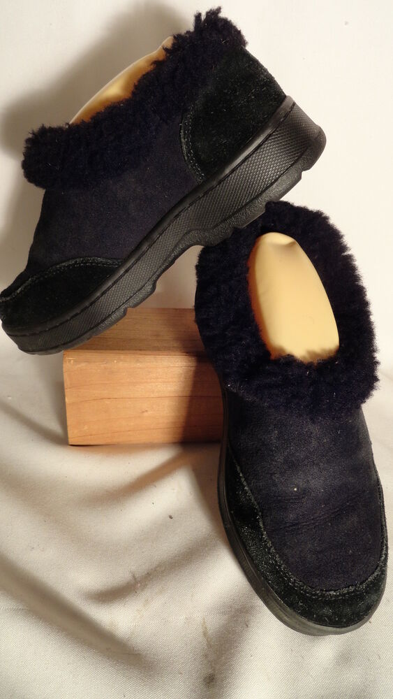 L L Bean Black Leather Shearling Lined Slip On Moc