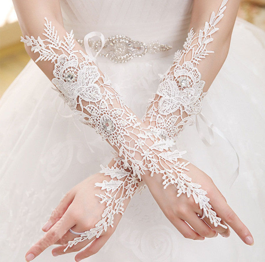 New Crystal White Lace Bridal Glove Wedding Party Pageant