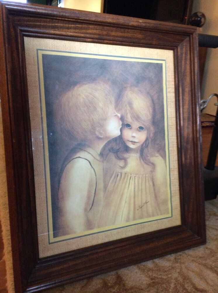 home interior little kiss boy and girl wood framed glass