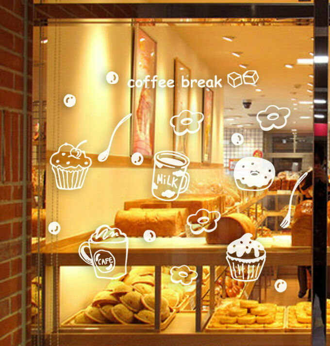 Coffee cafe shop window stickers business vinyl sign wall for Store window decorations