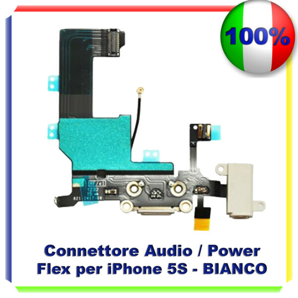 CONNETTORE CARICA DOCK MICROFONO RICARICA AUDIO FLEX PER  IPHONE 5S BIANCO
