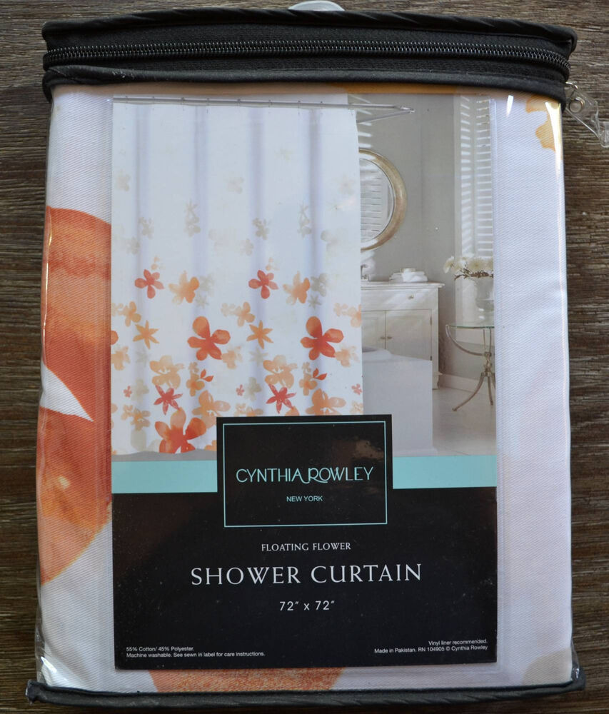 Cynthia Rowley Floral Orange And White Shower Curtain EBay