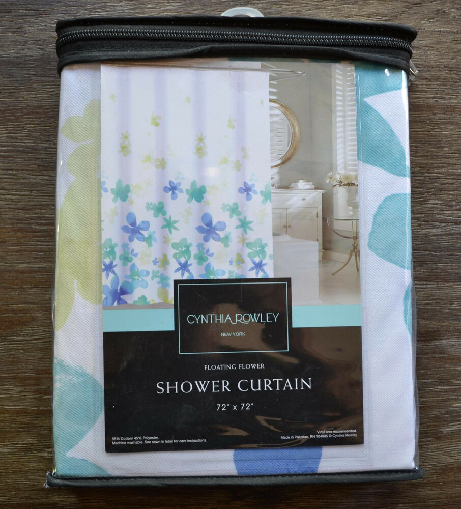 cynthia rowley floral blue green and white shower curtain ebay. Black Bedroom Furniture Sets. Home Design Ideas