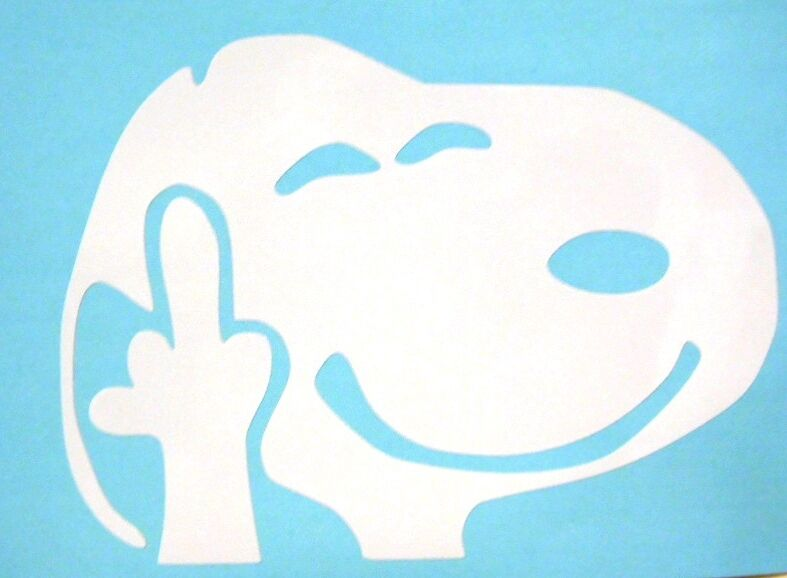 Snoopy Dog Flipping Off Funny White Only Car Truck