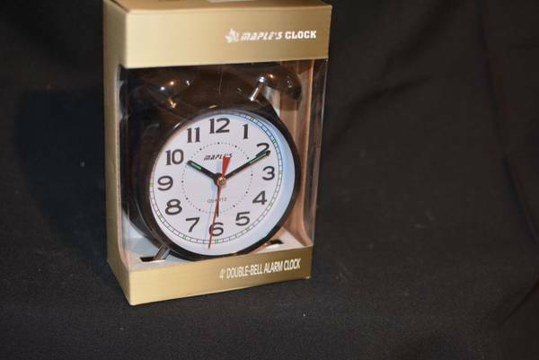 Brand New Vintage Style 4 Double Bell Alarm Clock Maple 39 S