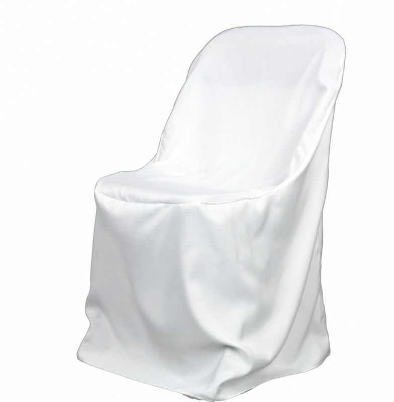 100 White Polyester Folding Chair Covers NEW Wedding