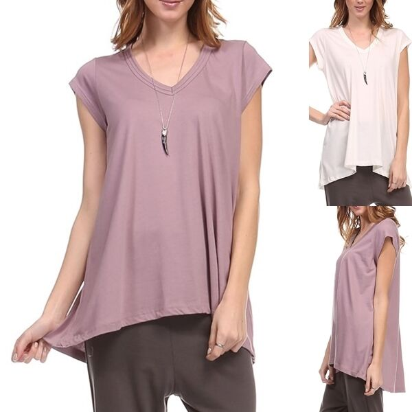 Usa womens v neck tunic high low top casual plain high for Low neck t shirts women s