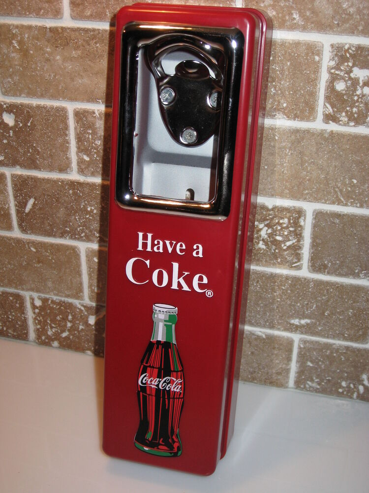 coke coca cola bottle opener and cap catcher wall mount stationary new ebay. Black Bedroom Furniture Sets. Home Design Ideas