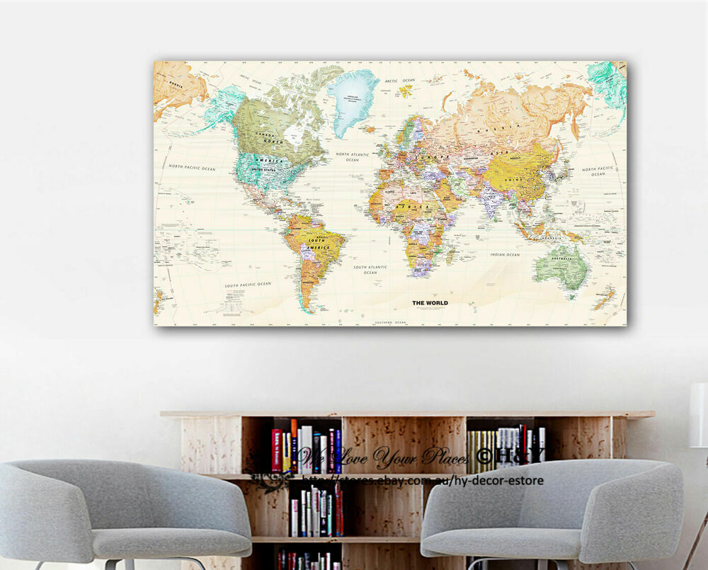 World map stretched canvas prints framed wall art home for Wall of framed pictures