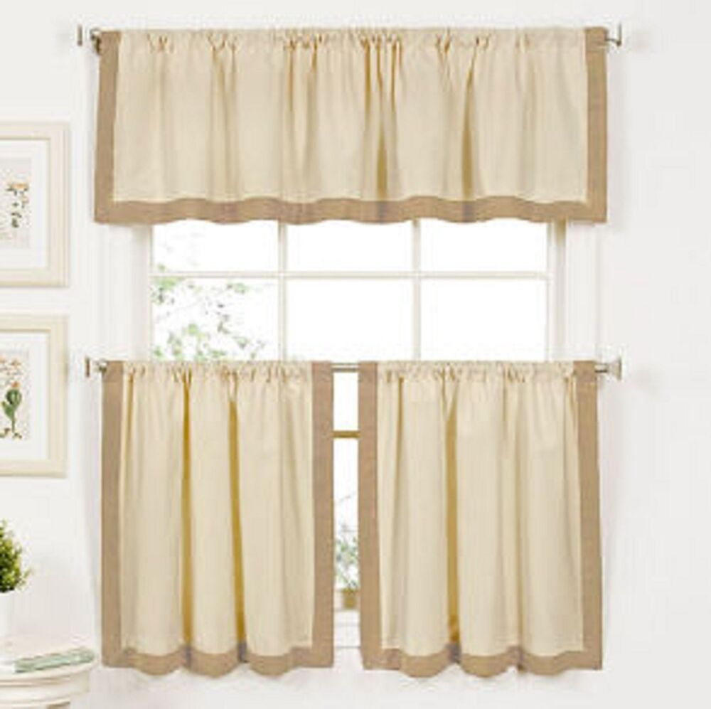 Kitchen Curtains And Valances: Wilton Banded Kitchen Curtain 24 Inch Tier And Valance Set