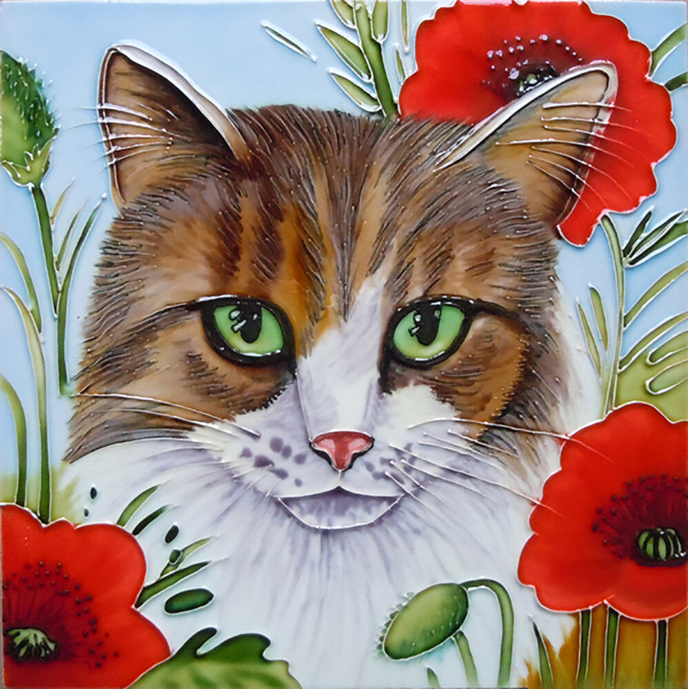 Cat Poppy Ceramic Kitchen Picture Tile Gift Wall Plaque