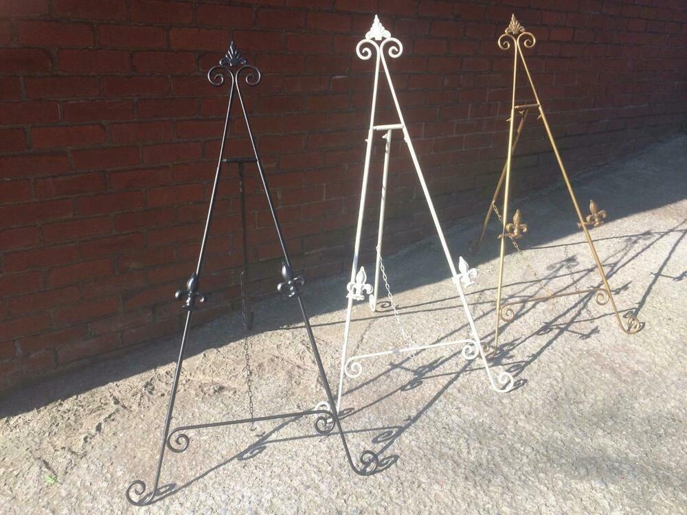 White Gold Black 36 Quot 3ft Iron Easel Display Picture