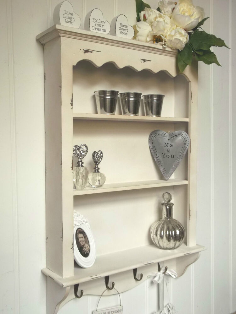 shabby chic wall unit shelf storage cupboard cabinet hooks french vintage style ebay. Black Bedroom Furniture Sets. Home Design Ideas