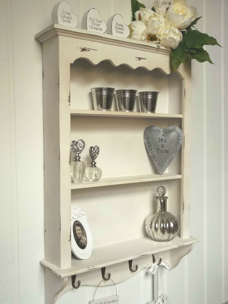 Shabby Chic Wall Unit Shelf Storage Cupboard Cabinet Hooks French Vintage Sty