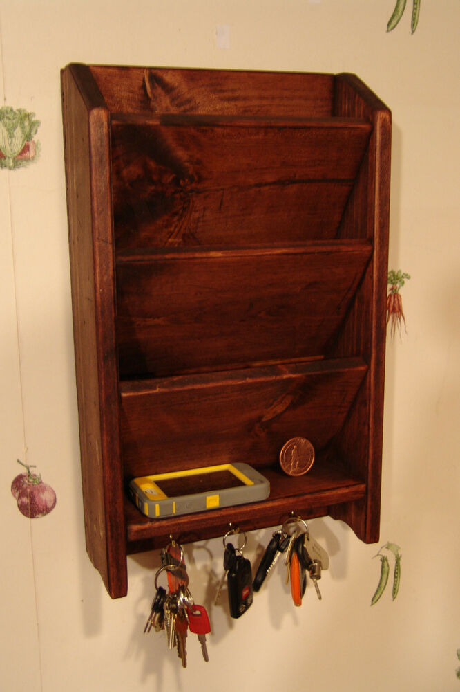11 x 18 mail letter rack handcrafted wood organizer key holder wall r mahogany ebay - Wooden letter and key holder ...