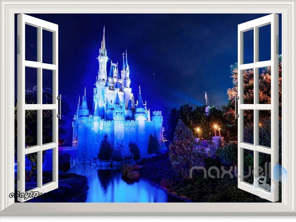 Disney princess magic castle night 3d window wall decals for Sticker mural 3d