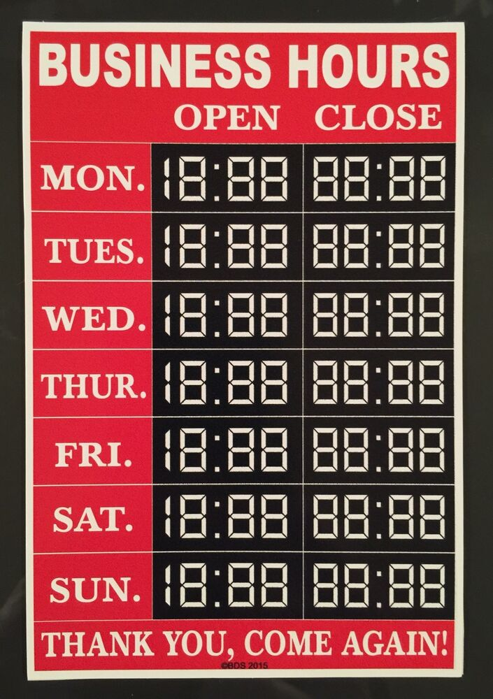 Custom Customizable Business Hours Sticker Decal Sign