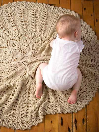 Knitting Pattern For Leaf Design Baby Blanket : Circular Leaf Flower Little Branches Baby Blanket Chunky Wool Knitting Patter...