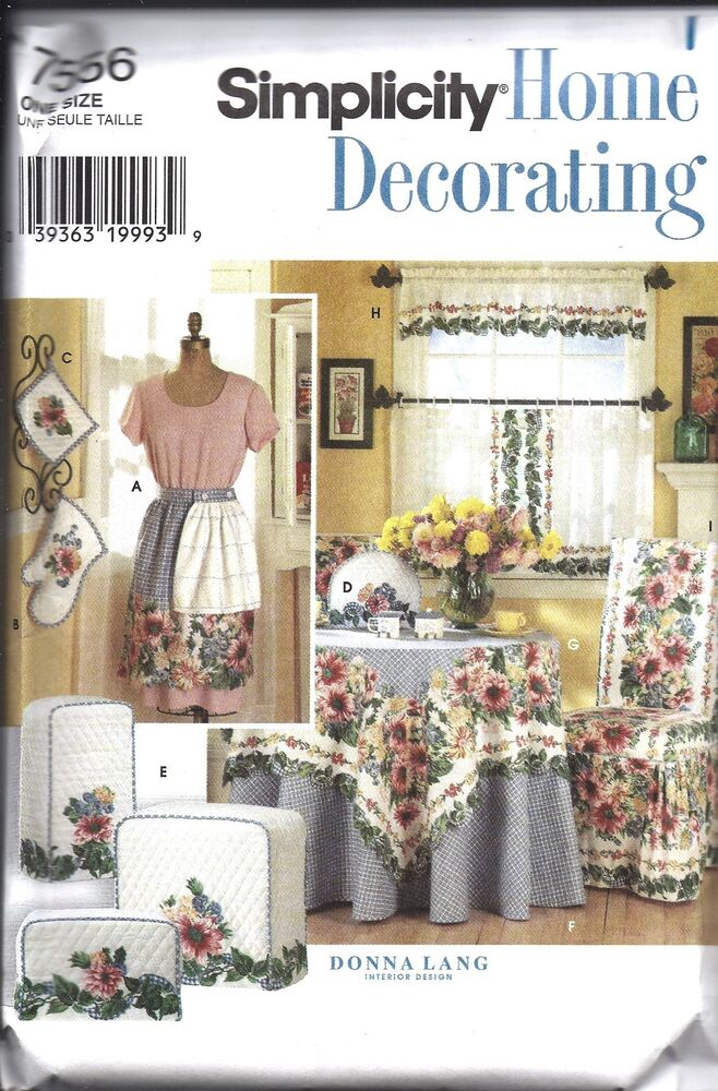 Http Www Ebay Com Itm Uncut Simplicity Sewing Pattern Home Decor Kitchen Accessories Donna Lang 7556 201329539760