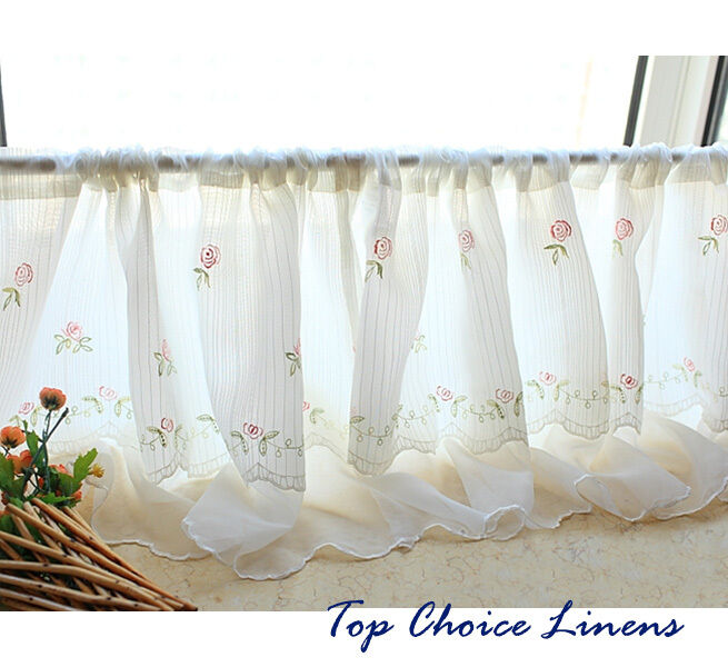 Country Cottage Kitchen Curtains: Country Cottage Kitchen Embroidered Rose Window 2 Layers