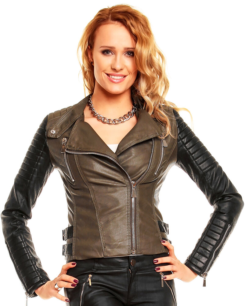 veste blouson femme biker simili cuir vert olive kaki noir zipee t s m ou l ebay. Black Bedroom Furniture Sets. Home Design Ideas