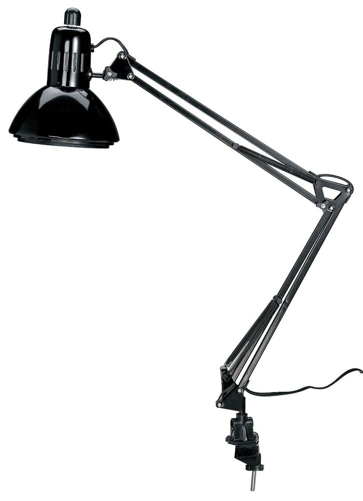 swing arm lamp black drafting desk adjustable artist studio table clamp light ebay. Black Bedroom Furniture Sets. Home Design Ideas