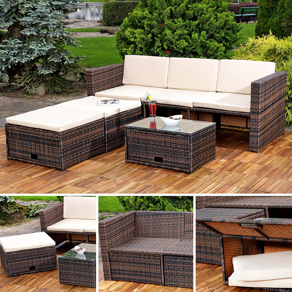 polyrattan sitzm bel set sofa tisch 2 hocker braun lounge gartenset rattanm bel ebay. Black Bedroom Furniture Sets. Home Design Ideas