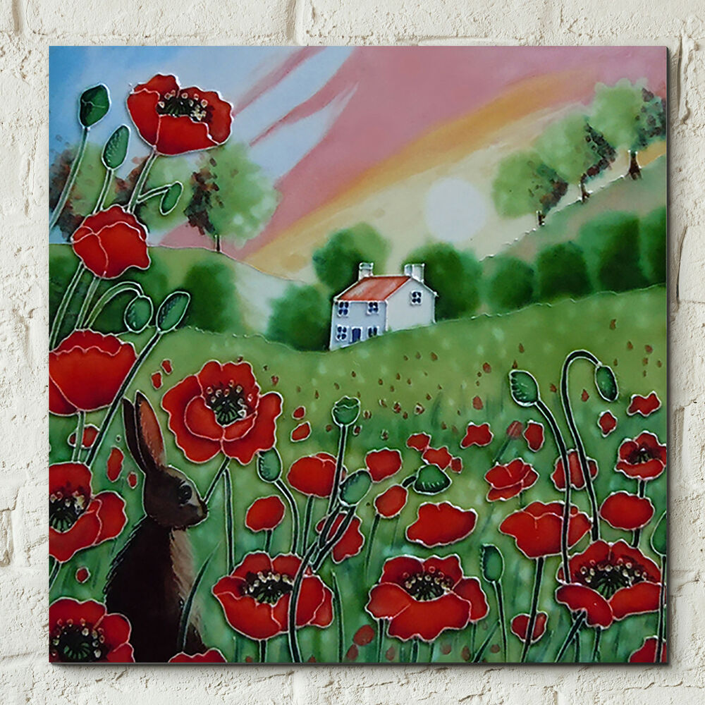 Poppy Meadow Hare Sunset Ceramic Picture Tile Wall Art