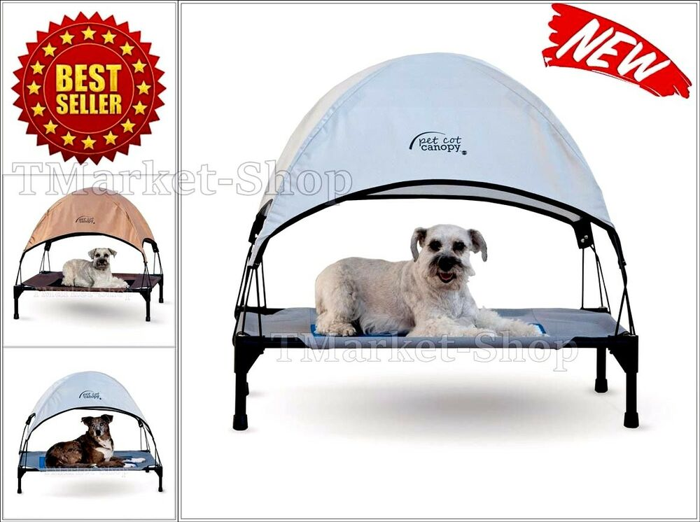 dog canopy for bed portable outdoor pet tent house puppy shelter kennel mesh cot ebay. Black Bedroom Furniture Sets. Home Design Ideas