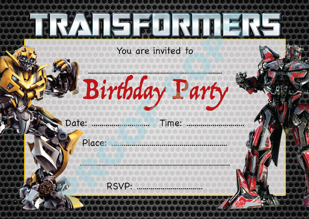 It is a graphic of Adaptable Transformer Birthday Invitations Printable Free