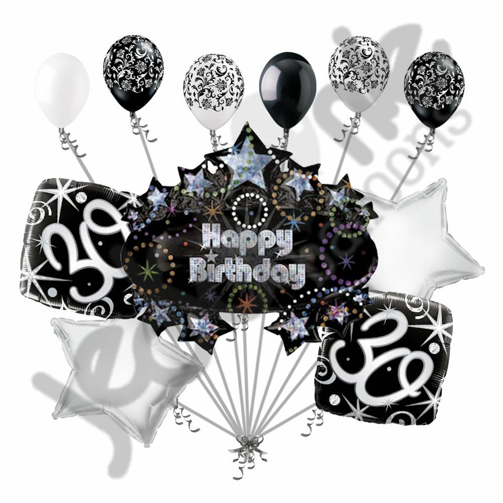 11 pc 30th happy birthday balloon decoration party elegant for Adult birthday decoration