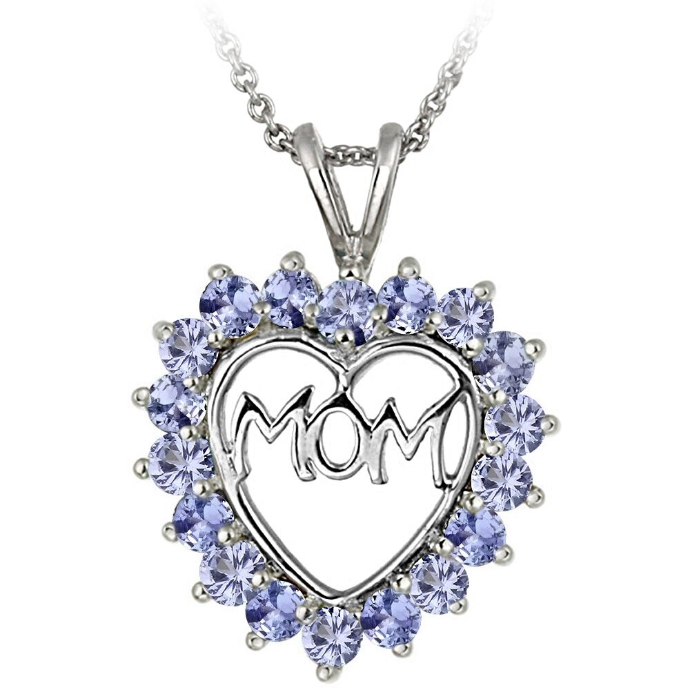 Tanzanite Necklace Tanzanite: 925 Sterling Silver Tanzanite MOM Open Heart Necklace