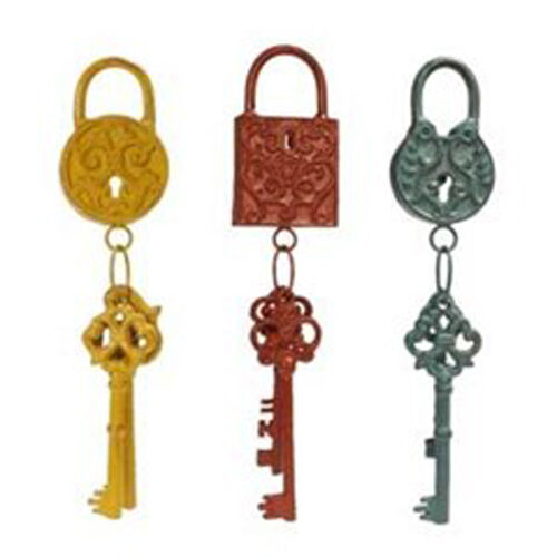 Metal key and lock wall decor shabby chic steampunk home for Lock and key decor