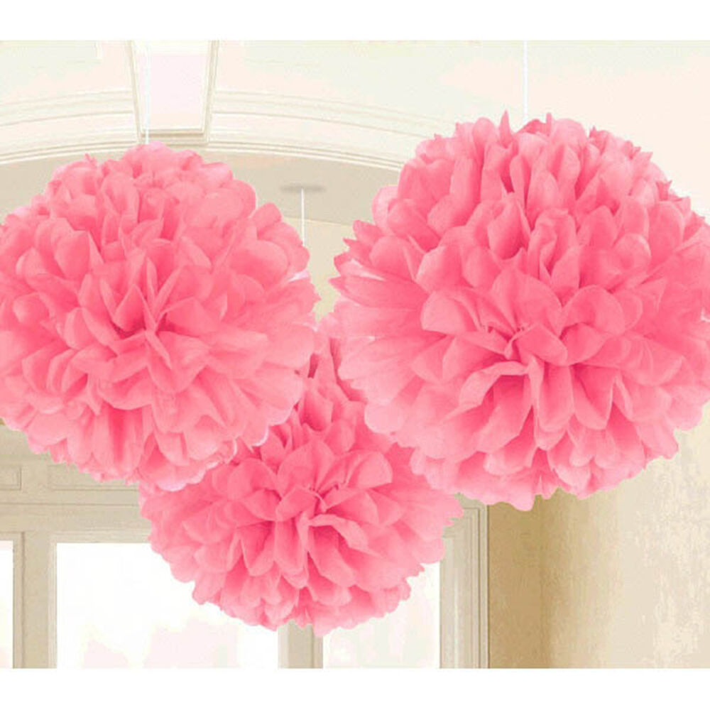 Paper Decoration Balls: 3 Baby Pink Wedding Engagement Party Hanging Fluffy Tissue
