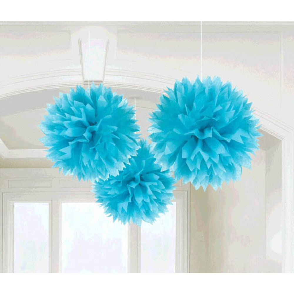 3 caribbean blue engagement party hanging fluffy tissue for Hanging pom poms from ceiling