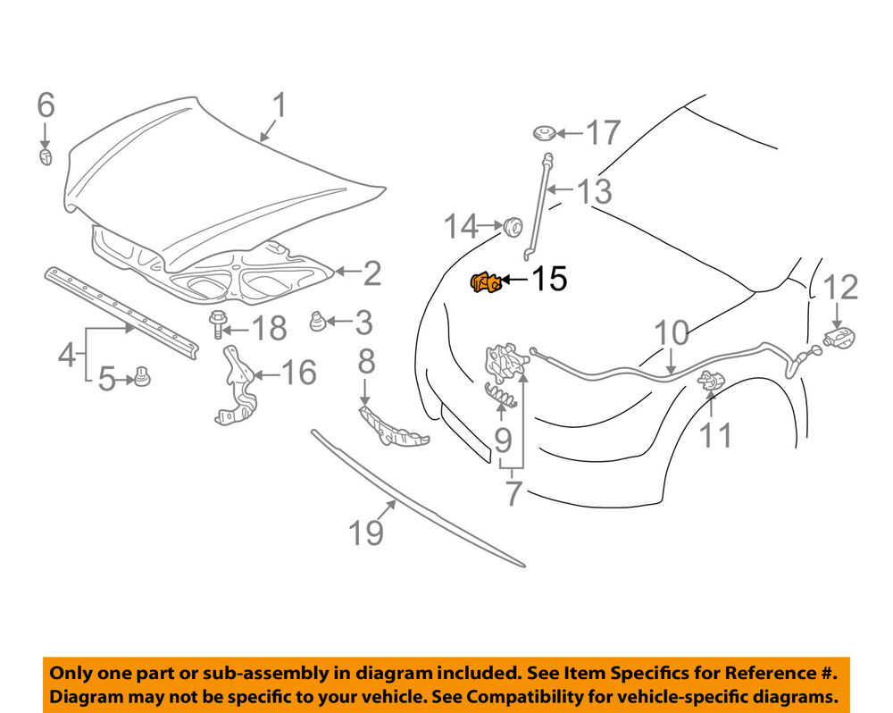 Toyota Oem 03 08 Corolla Hood Support Prop Rod Clamp Clip