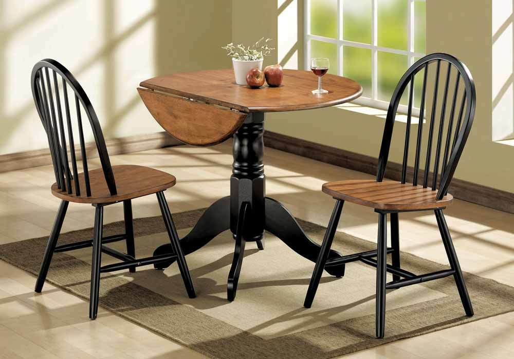 Mason 3 pc dining set round table drop leaf side chairs for Black dining table with leaf