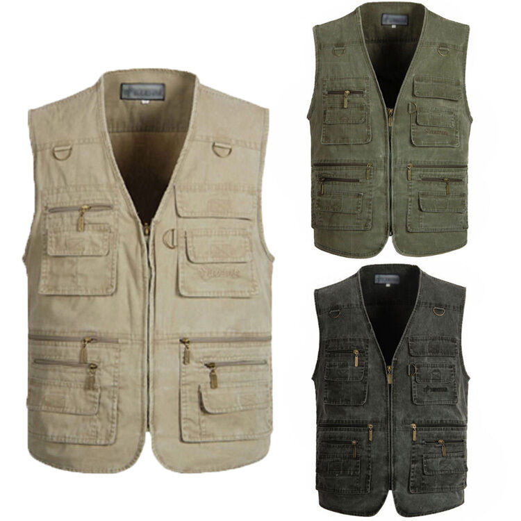 New boy outdoor fishing vest photography travel zipper for Mens fishing vest