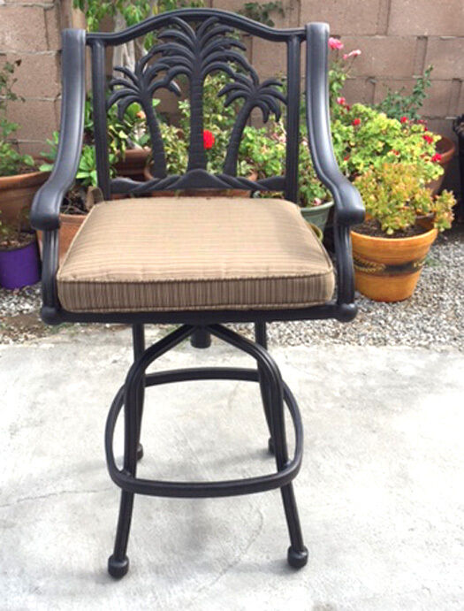 Outdoor Patio Bar Stool Palm Tree Barstools Cast Aluminum Desert Bronze EBay