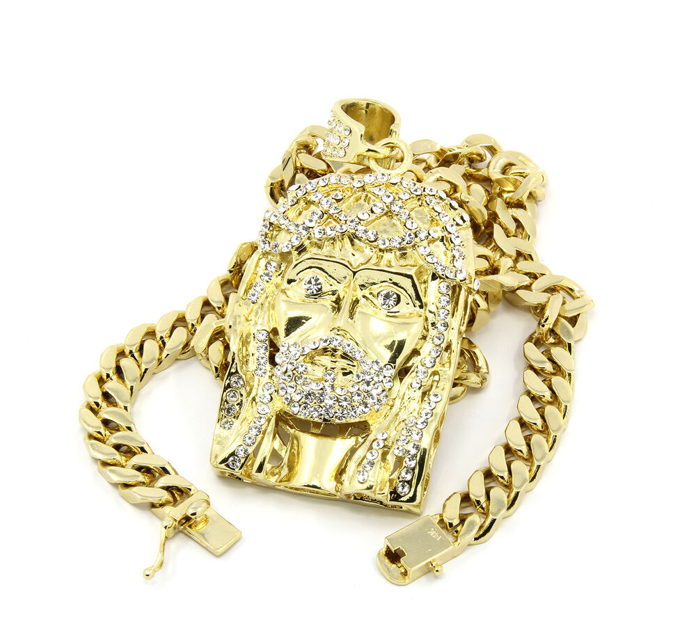 Mens 14k Gold Finished Iced Out Jesus Piece Pendant 30